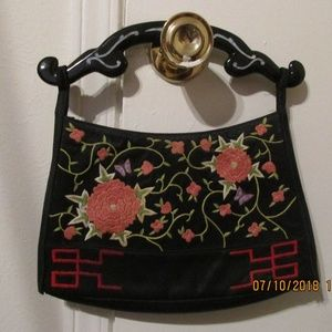 Chinese embroidered black satin purse 1339